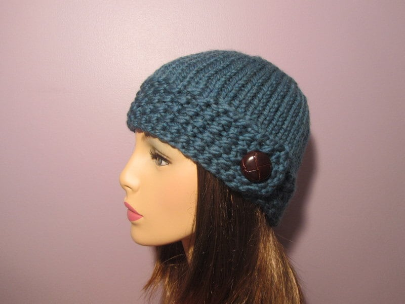 Knitting Hat Patterns : PATTERN Seed Stitch Button Brim Knit Hat PDF
