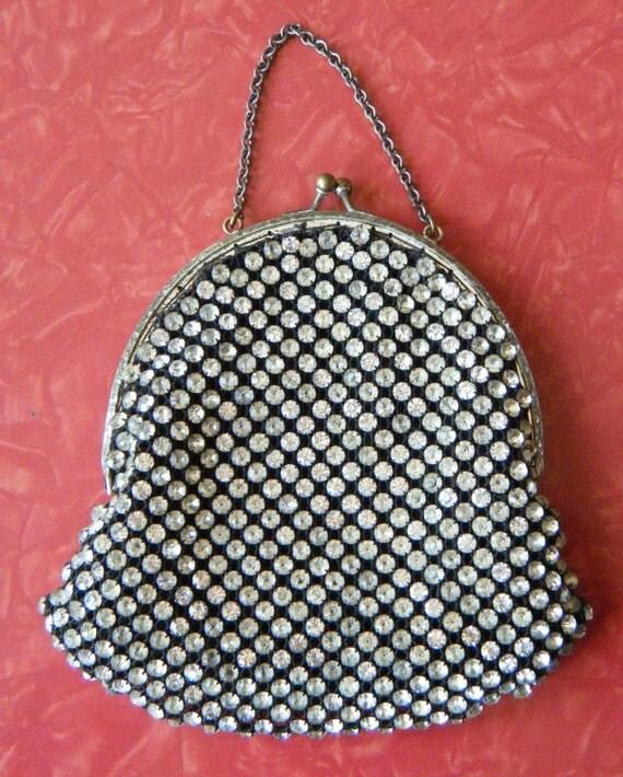 Vintage Fancy 1940s Rhinestone Evening Bag Silk Lined Set Stones Wrist Chain
