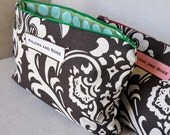 Handmade Small Cotton Make-Up Tote, Clutch, Purse- Brown Floral Fabric with Green Blue Polka Dot Interior-Small