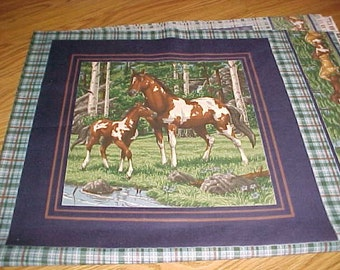 Pillow Panels Horses Quilt Squares Fabric Vip Cranston Fabric Printed in the USA One Yard