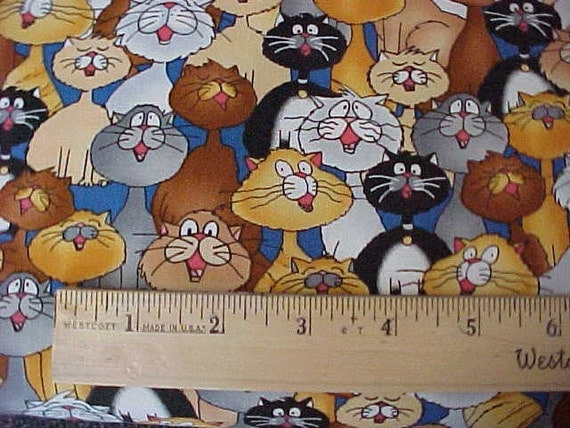 Alley Cat Chorale Stacked Cats One Yard by Timeless Treasures
