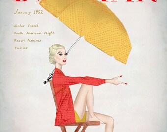 pencil drawing Titled Harpers Bazaar