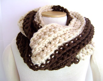 Crochet PATTERN - Chunky Chocolate and Vanilla Twist Scarf Cowl INSTANT DOWNLOAD