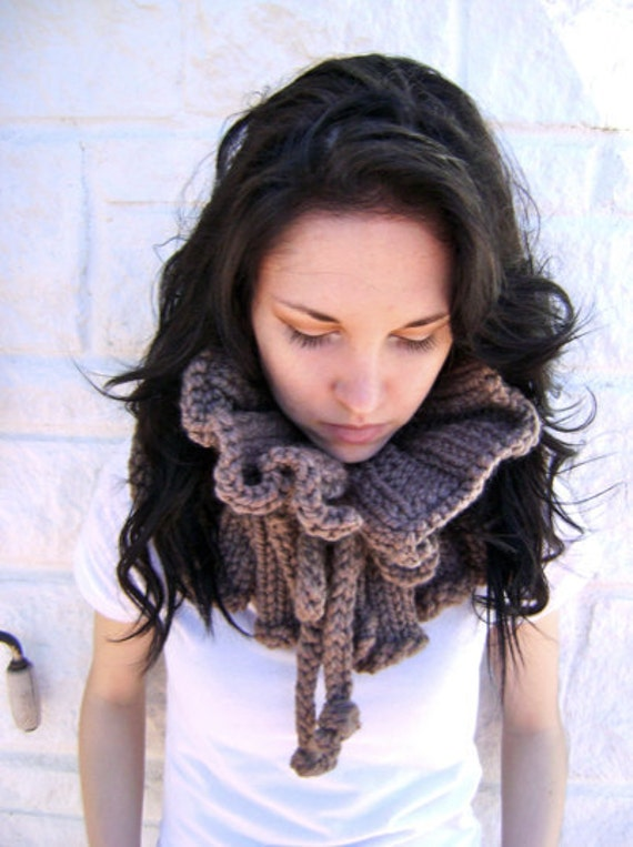 Hand Knit Scarf Neck Ruffle On Sale And Ready To Ship