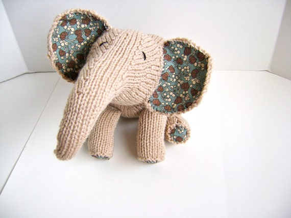 Knitting PATTERN for Precious Pachyderm - Only Needs One Skein of Worsted Yarn