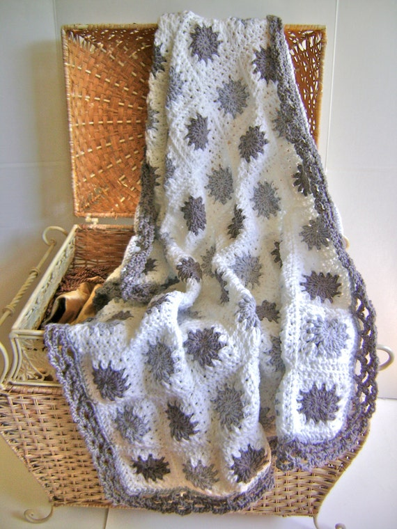 ON SALE Hand Crocheted Grey Granny Baby Blanket - Luxury Gift for the Modern Mommy and Baby Nursery