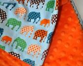 Gender Neutral Baby Minky Blanket, XLARGE Snuggle Size Bright Elephants