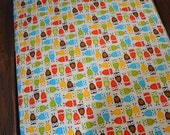 Crib Sheet in Bright Owls, Fits Standard Size Crib or Toddler Bed Mattress