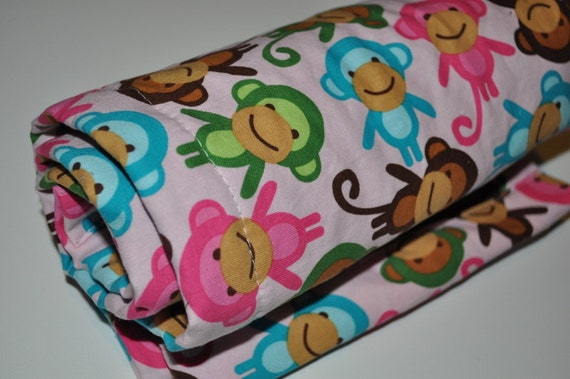 Baby Girl Minky Blanket, Stroller Size, Pink and Brown Monkeys with Chocolate Brown Minky