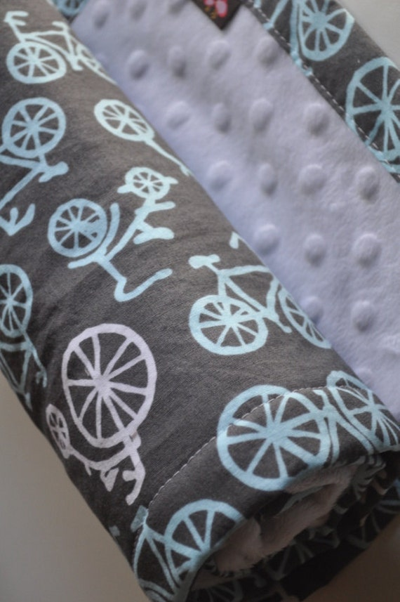 Baby Infant Toddler Boy, XLARGE Snuggle Size Blanket, Grey Bicycles & Minky