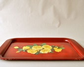 Red Metal Tray with Yellow Roses