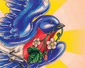 "SALE Flying Bluebird Tattoo Art 5""x7"" Mini Giclee Print - ""Blue Summer"""