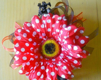 Red Polka Dotted Artificial Daisy Corsage