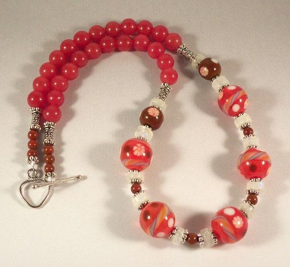Handmade Glass Lampwork and Stone Beaded Necklace Orangina