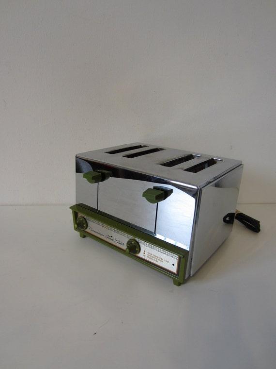 vintage chrome toaster, green retro kitchen, breakfast