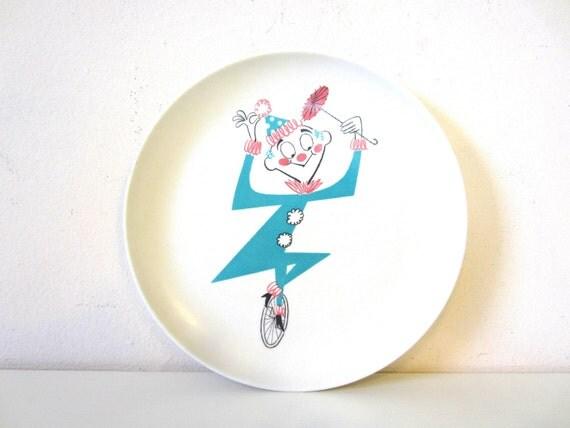 clown melamine, childs plate, turquoise melmac