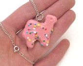 Frosted Animal Cookie- Pink Camel Necklace