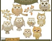 Hoot Owls - Apothecary Paper Piecing Clipart Elements for Invitations, Card Design and Scrapbooking - triciacurtis