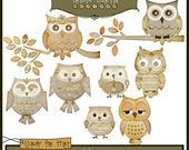 Hoot Owls - Apothecary Paper Piecing Clipart Elements for Invitations, Card Design and Scrapbooking - Instant Download