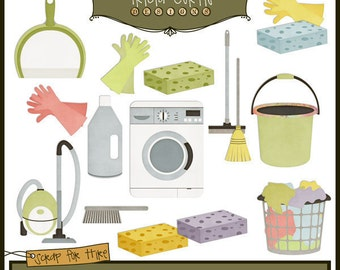 Do Your Chores Paper Piecing Clipart Elements for Invitations, Card Design, Digital Scrapbooking - Instant Download