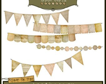 Banner Day - Apothecary Paper Piecing Clipart Elements for Invitations, Card Design, Digital Scrapbooking - Instant Download