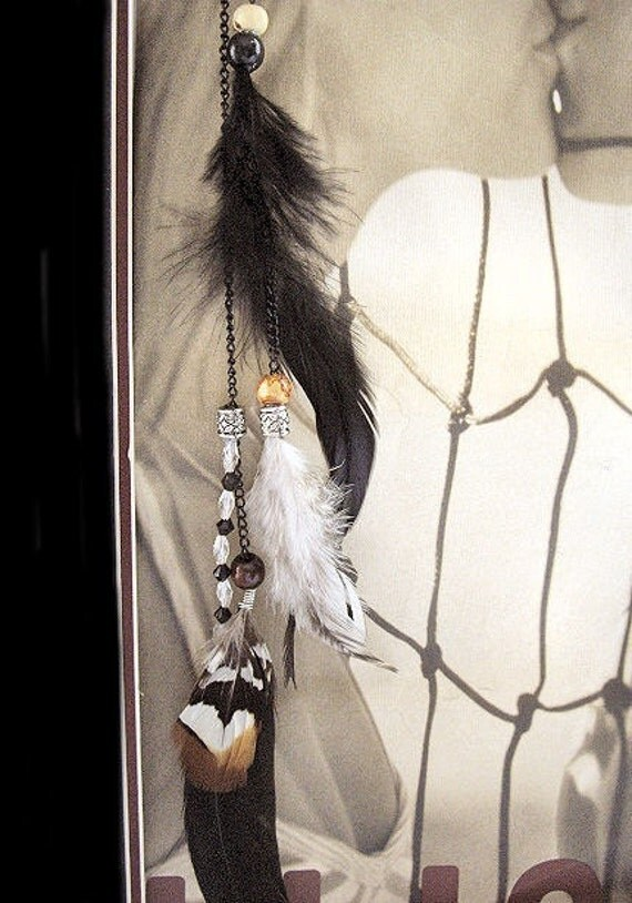 Kalyn  -- Feather Hair Clip Extension Clip On With Crystal Beads