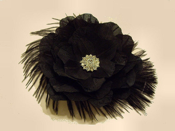 Listing Reserved for Amanda Anthony --  Petite Black Flower With Ostrich Feathers