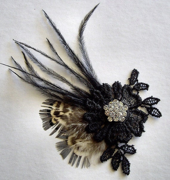 Lot of 3 Black Lace Flower Applique Flatback with Pheasant and Ostrich Feather Sprays and Rhinestone