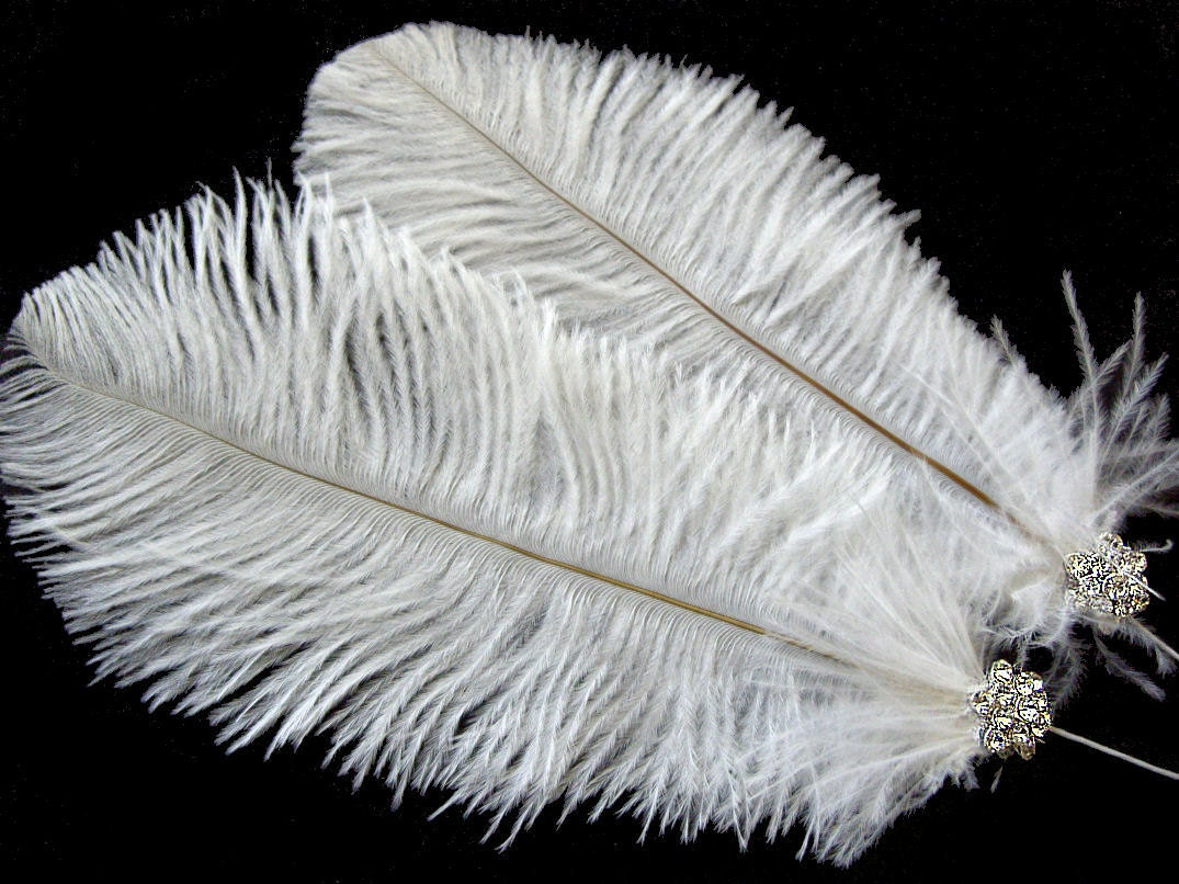 Lot of 3 Small White Ostrich Feather Sprays on Wire With