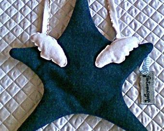 Messenger bag, shoulder bag, adjustable strap bag, star bag, kawaii bag, handcrafted bag, handbag, dark-teal felt bag - ANGEL STAR BAG