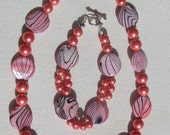 "Shell Necklace & Bracelet Set, Pink Mother of Pearl and Shell Pearl ""Pink Fantasia"" Special Offer"