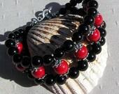 """Gemstone Cuff Bracelet, Natural Red Coral & Black Onyx """"Scarlet Pimpernel"""", Gemstone Bracelet, Red Bracelet, Black Bracelet, Chakra Bracelet"""