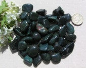 10 Bloodstone (Heliotrope) Crystal Tumblestones, Green Crystals, Crystal Collection, Meditation Stone, Libra Crystals, Protective Stone