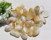 10 Citrine (Quartz) Crystal Tumblestones, Yellow Crystals, Chakra Crystals, Meditation Stone, Crystal Collection, Quartz Crystals