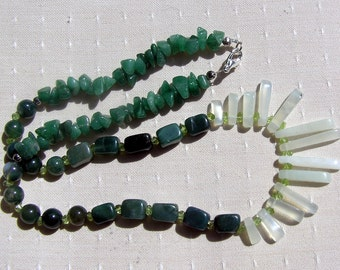 "Crystal Gemstone Fan Statement Necklace, Green Jade, Peridot, Agate & Aventurine ""Pistachio"" Special Offer Price"