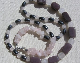 "Crystal Gemstone Necklace Plum Jade, Rose Quartz, & Hematite ""Raspberry Ripple"" Special Offer Price, Jade Necklace, Quartz Necklace, Chakra"