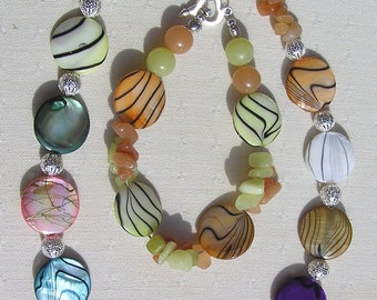 "Necklace & Bracelet Set, Mother of Pearl, Yellow Jade and Red Aventurine Twinset ""Rainbow Duet"" Special Offer Price"