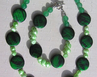 "Shell & Jade Necklace and Bracelet Set, Green Mother of Pearl, Green Jade and Freshwater Pearl ""Green Fantasia"", Twinset, Green Jade, Chakra"