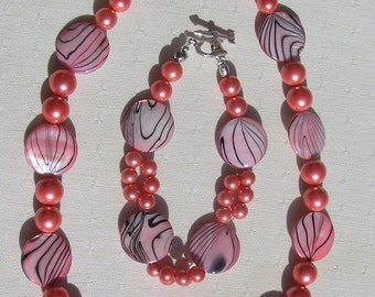 "Shell Necklace & Bracelet Set, Pink Mother of Pearl and Shell Pearl ""Pink Fantasia"" Special Offer Price, Shell Necklace, Shell Twinset"