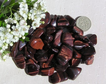 12 Red Tigers Eye Crystal Tumblestones