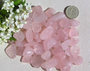 10 Rose Quartz Crystal Tumblestones, Chakra Crystals, Crystal Collection, Pink Crystals, Meditation Stone, Love Stone, Leo Crystal