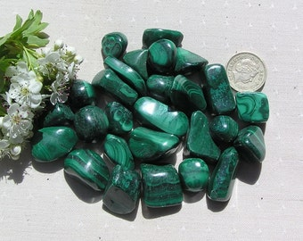 5 Green Malachite Crystal Tumblestones, Green Crystals, Crystal Collection, Meditation Stone, Taurus, Protection Stone, Midwife Stone