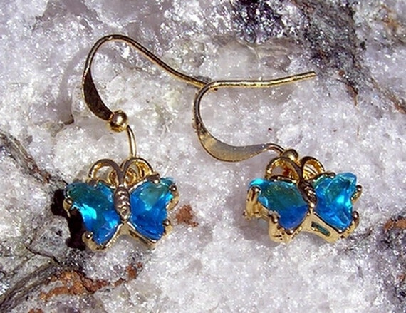 Ocean Sapphire Butterfly Earrings - Vintage (Unworn)