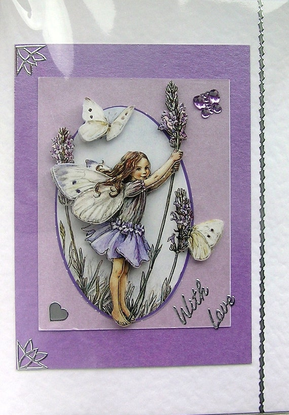 RESERVED - Lavender Fairy Hand-Crafted 3D Decoupage Card - With Love (1449)