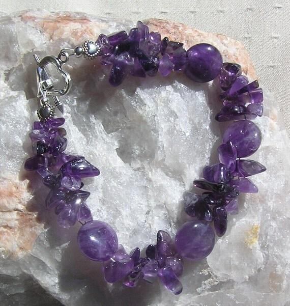 "RESERVED - Amethyst Gemstone Crystal Bracelet  - ""Wild Heather"""