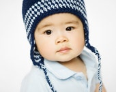 Ear flap hat - Navy blue,Baby blue- Choose your size
