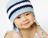 Ear flap hat - Baby blue, navy blue, white- Choose your size