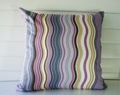 2 Throw Pillow Cover 18x18. Purple and blue waves printed on cotton