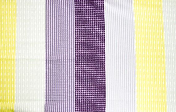 Purple, grey and yellow striped cotton Twin duvet cover.