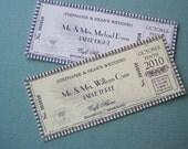Vintage Ticket  - Escort Cards